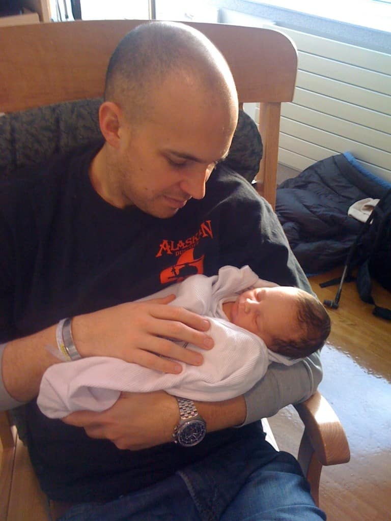 Husband and his Wee Man just 8 hours old.